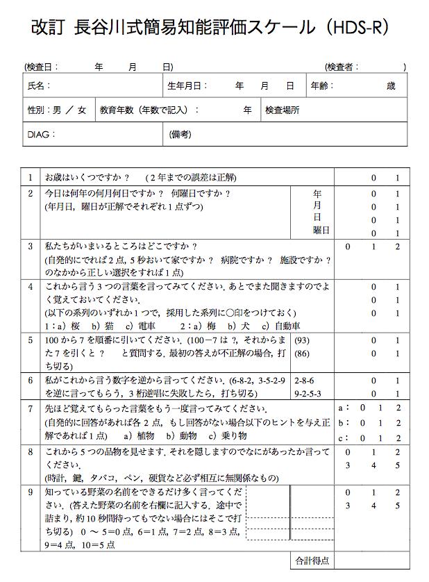 臨床で役立つ認知機能評価 ~長谷川式簡易知能評価スケール ...